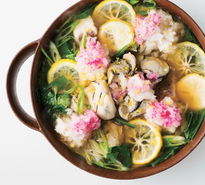 牡蠣と柚子の雪見鍋