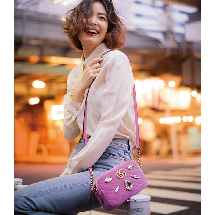グッチ×GG マーモント ホリデーコレクション ショルダーバッグ【ピンク】