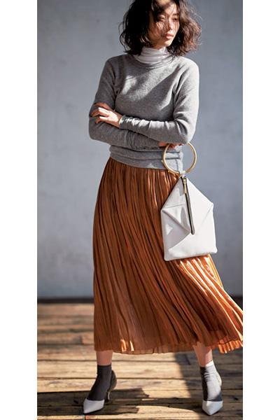 ブラウンプリーツスカート