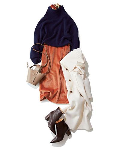 ベージュショルダーバッグ×オレンジスカート