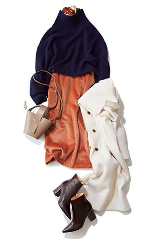 5日目|【B】クリーンロングコート+【D】ゆったりニット+【M】シャギータイトスカート
