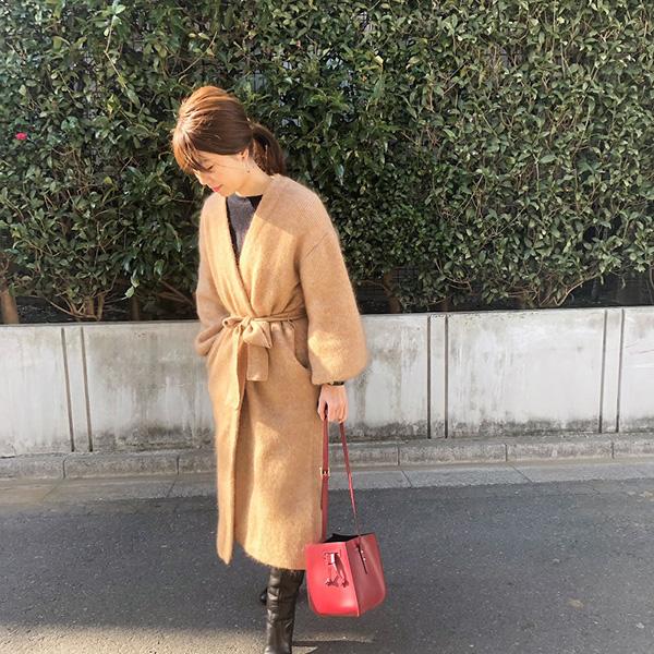 ETRÉ TOKYO ニットコート 赤バック