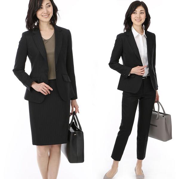 黒ストライプパンツ・スカートスーツ×ベーシックインナー