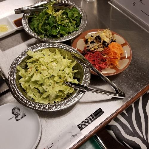 キャベツ千切り ヨーグルトミントソース 自家製ナムル盛り合わせ デトックスサラダ