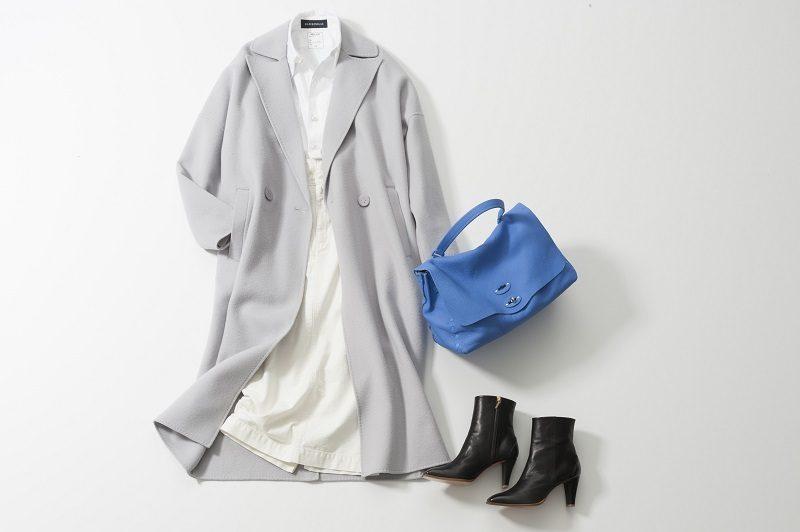 白スカート×白シャツ×グレーコート