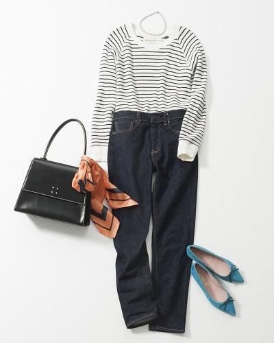 【4】黒ハンドバッグ×オレンジスカーフ