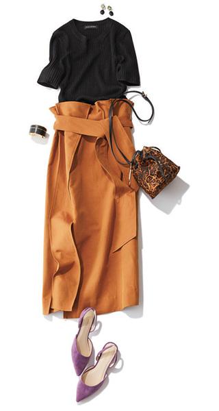 黒メリノニット×秋色スカート