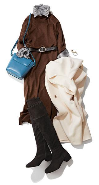 ブラウンワンピース×白コート