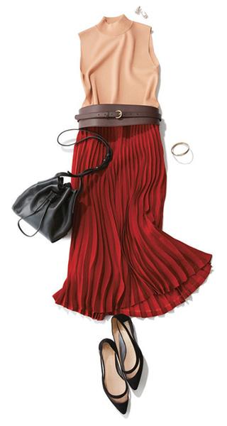 赤スカート×ノースリーブニット