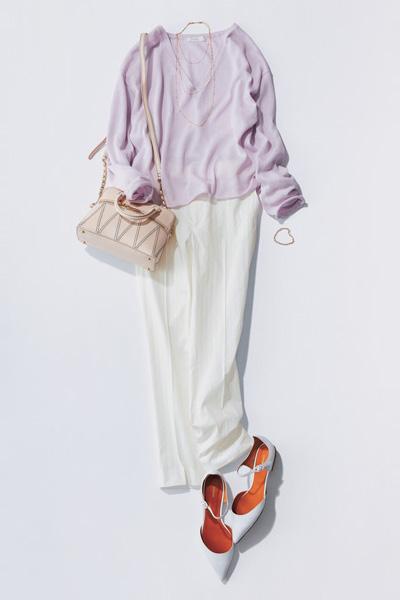 【6】ラベンダーニット×白パンツ