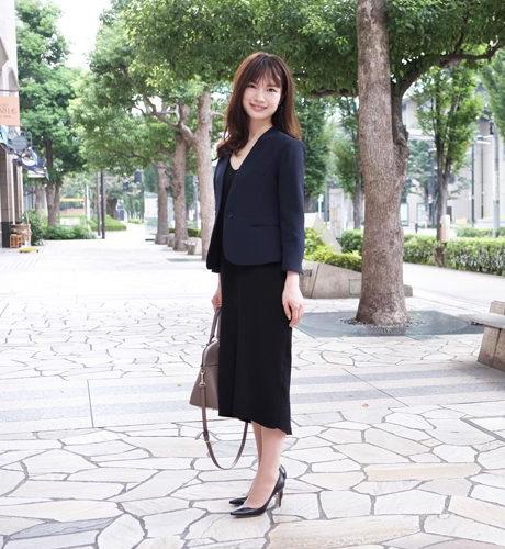 エムプルミエ×ノーカラージャケット&ワンピ×お仕事コーデ