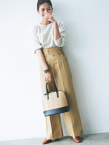 bb0f7131dc5 ベージュワイドパンツコーデ20選【2019春】どんな色の靴・スニーカーを ...