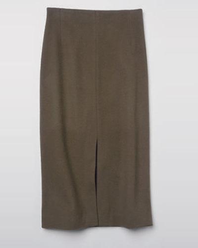ルーニィのカーキのソリッドなタイトスカート
