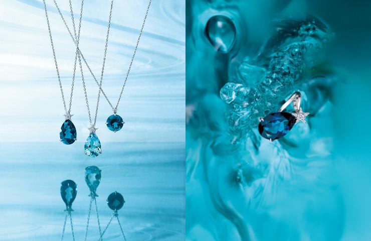 K18WGブルートパーズ/ダイヤモンドネックレス K18WGブルートパーズ/ダイヤモンドリング