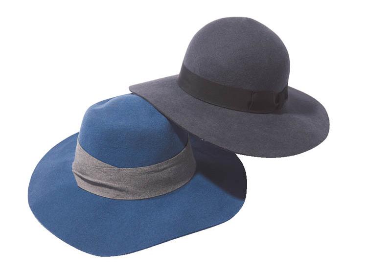 ブルー×グレーのつば広女優帽