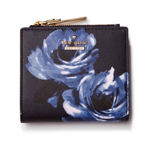 ケイト・スペード×黒の花柄ミニ財布