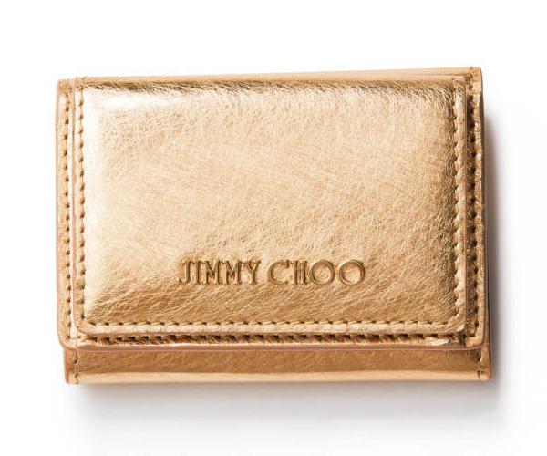 ジミー チュウ×ゴールドのミニ財布