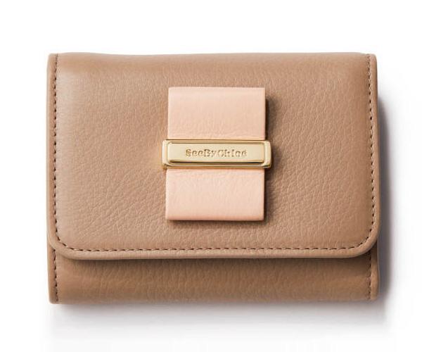 シーバイクロエ×ベージュのミニ財布