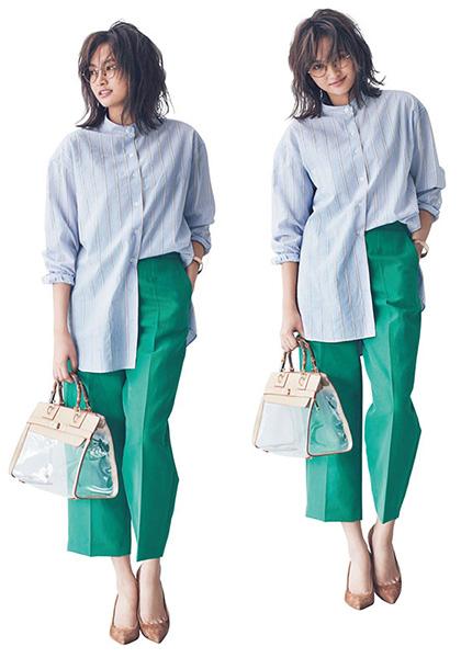 グリーンワイドパンツ×スタンドカラーシャツ