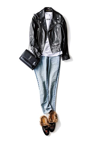 【6】黒ライダースジャケット×黒バッグ