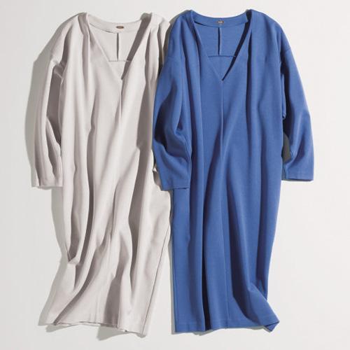 ワンピース 種類:ROPÉのブルー&ライトグレ・コクーンワンピース