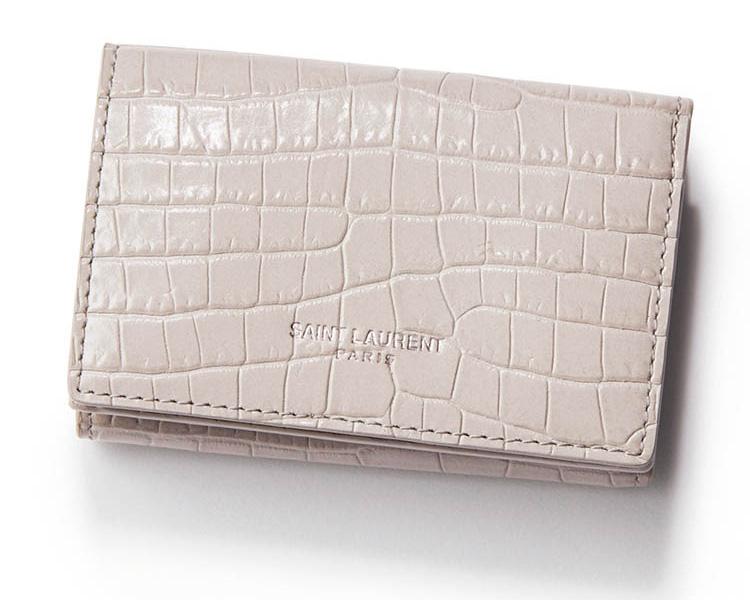 イヴ・サンローラン×グレージュのミニ財布