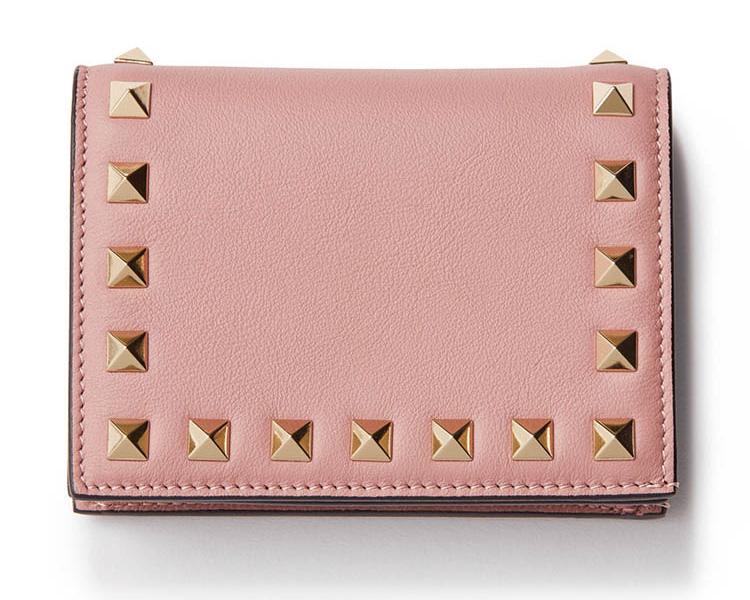 ヴァレンティノ×ピンクのスタッズ付きミニ財布