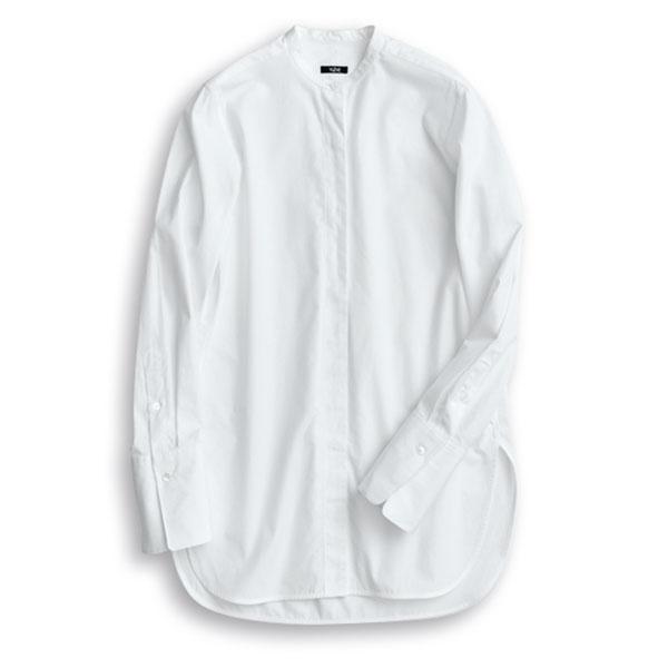 イレーヴのスタンドカラー白シャツ