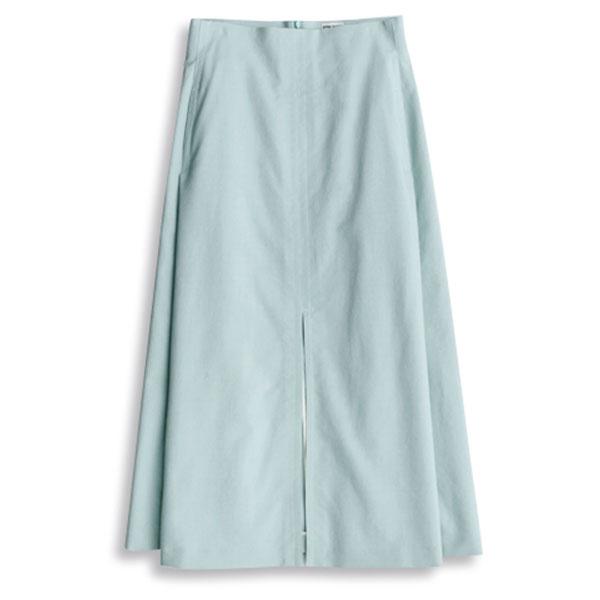 アンスクリアのミントブルースリットスカート