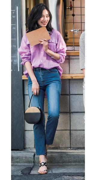 リネンシャツ×デニム