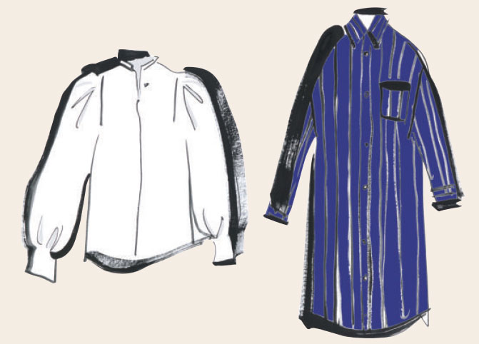 ネイビーベースのストライプシャツワンピース&今年顔の白シャツ