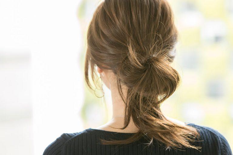 2|毛先は最後まで通さず、輪っかにする