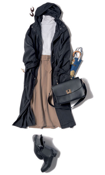 ベージュタイトスカート×白ハイネック×ロングコート