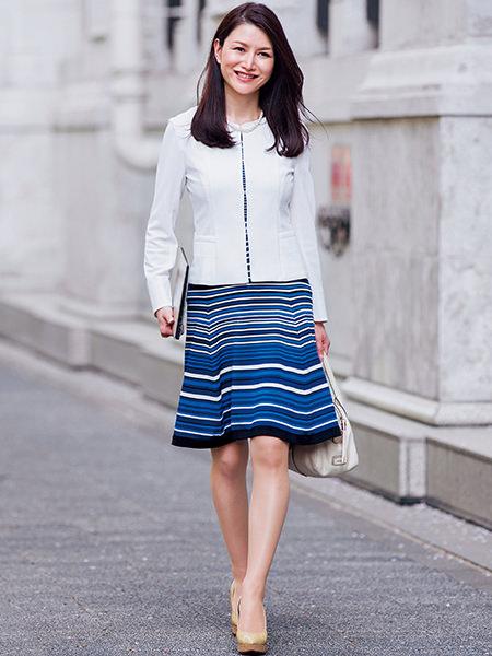ブルー柄ワンピース×白ノーカラージャケット