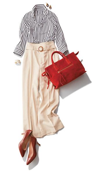 白ワイドパンツ×ストライプシャツ