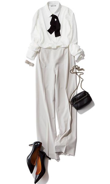 ライトグレーワイドパンツ×白リボン付きとろみシャツ