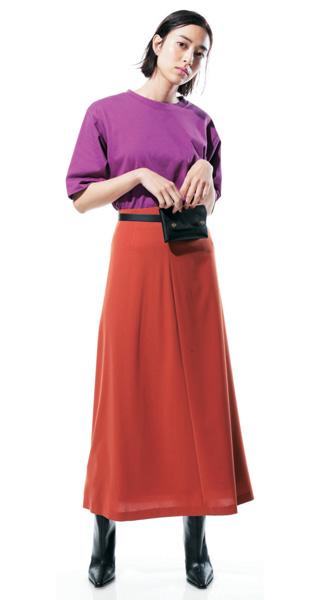 【1】赤ロングスカート×パープルTシャツ