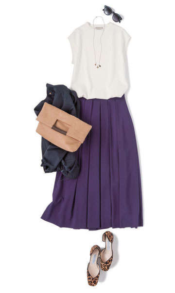 【2】紫フレアスカート×白ノースリーブブラウス