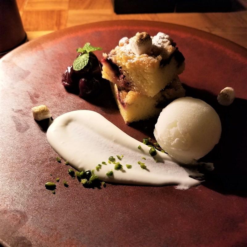 ダークチェリークランブル ローストマシュマロ 柚子とキル酒のシャーベット