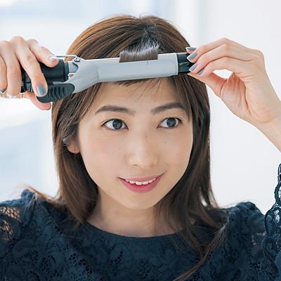 28mmのヘアアイロンで前髪を内巻きに