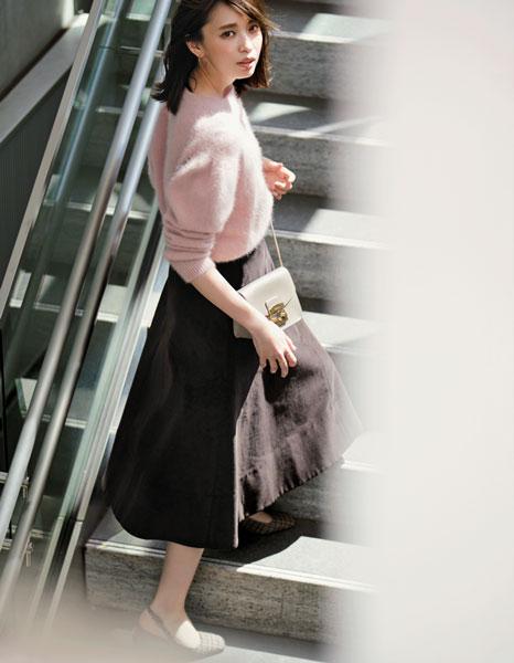 コーデュロイスカートのブラウンスカート