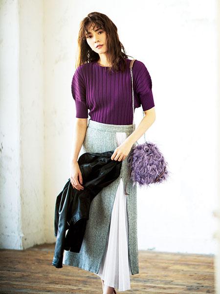 パープル×Aラインスカート