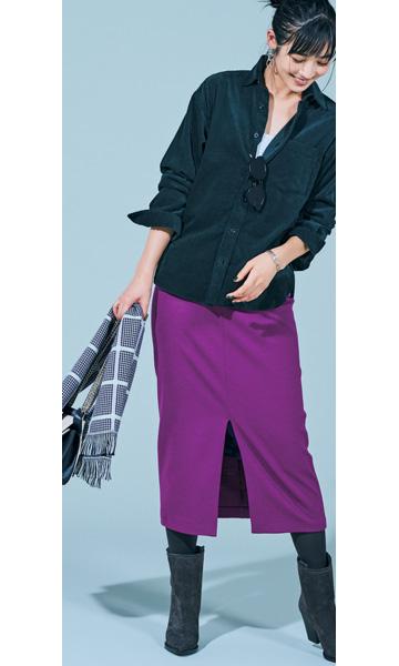 【9】パープルタイトスカート×オリーブグリーンシャツ