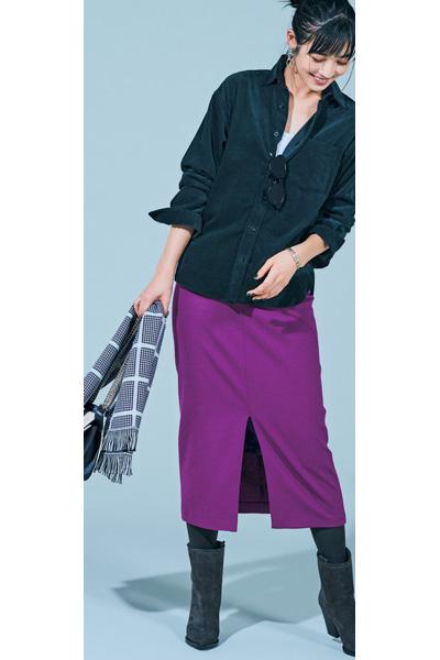 【3】オリーブグリーンののコーデュロイシャツ×パープルタイトスカート
