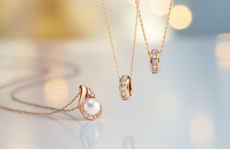 K18PG/Akoya pearl/Diamond Necklace 3way K10YG・PG/Diamond Necklace