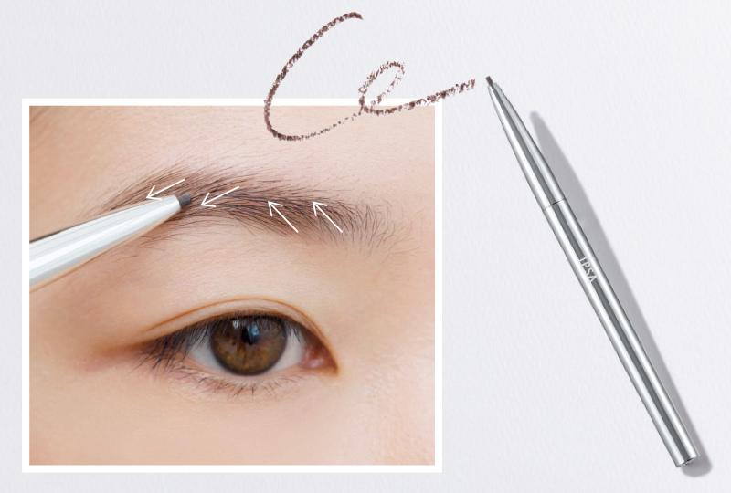 アイブロウペンシルで眉の毛並みに合わせて1本ずつ短めの線で描き足す