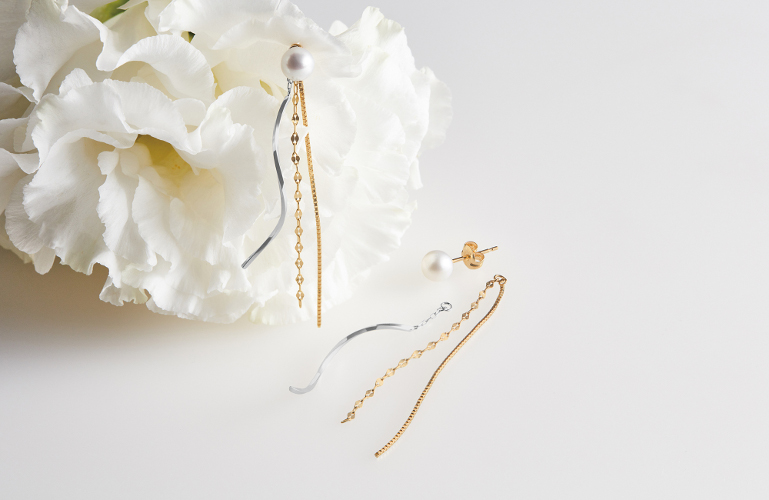 K10WG YG/Pearl/Pierced Earrings 3way