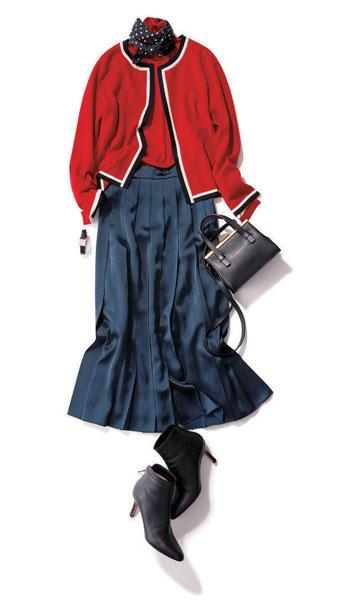 赤カーディガン×赤ニット×ネイビースカート