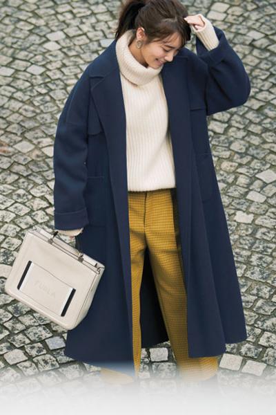 ネイビーアウター(メルトンコート)×イエローチェック柄パンツ