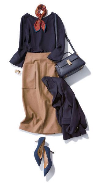 キャメルのタイトスカートのコーデ